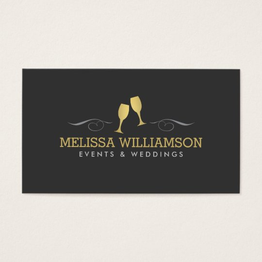 Gold Wine Glasses Event Planner Business Card