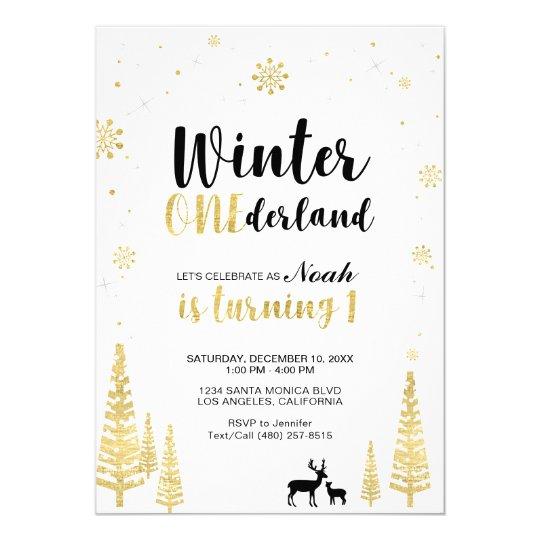 Gold Winter Onederland 1st Boy Birthday Invitation