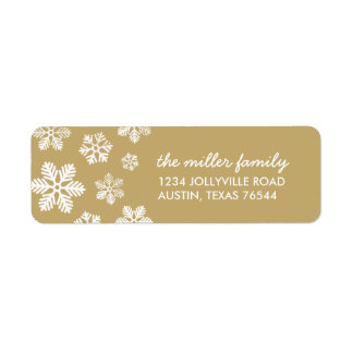 Gold Winter Snowflakes Personalized Address Label