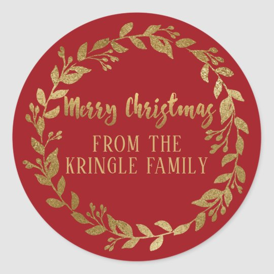 Gold Winter Sprigs Merry Christmas Greeting Classic Round