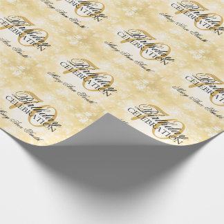 Gold Winter Wonderland 70th Birthday Party Wrapping Paper