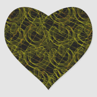 Gold Wire Mesh 3D Power Symbols Heart Sticker