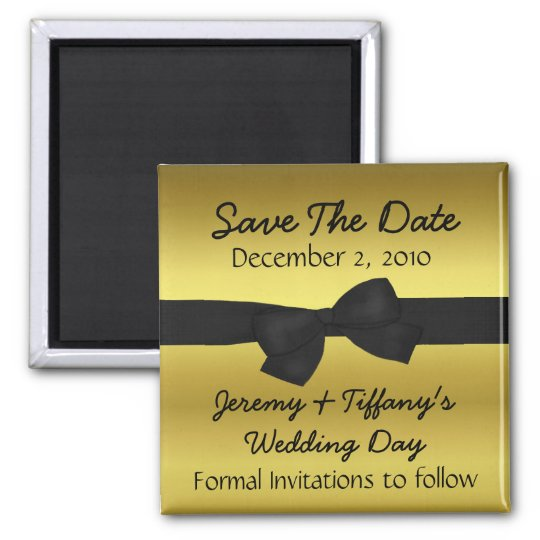 Gold with Black Bow Save the Date Magnet