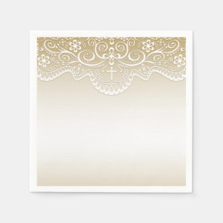 Gold with Lace, Cross, Religious Disposable Serviette