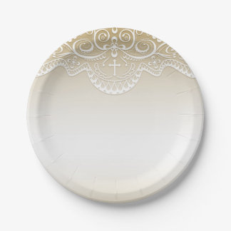 Gold with Lace, Cross, Religious Paper Plate