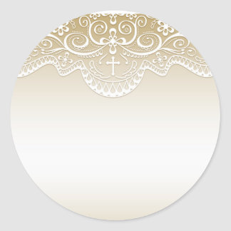 Gold with Lace, Cross, Religious Round Sticker