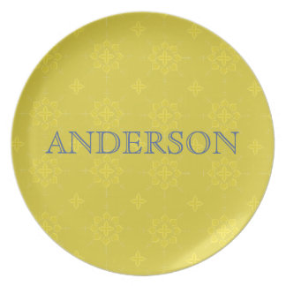 Gold with Navy Pattern Melamine Plate