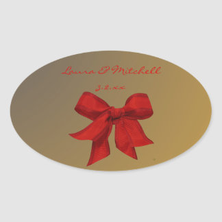 Gold with Red Bow Custom Oval Wedding Stickers
