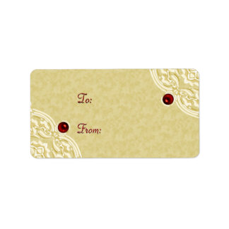 Gold with Red Holiday Gift Labels