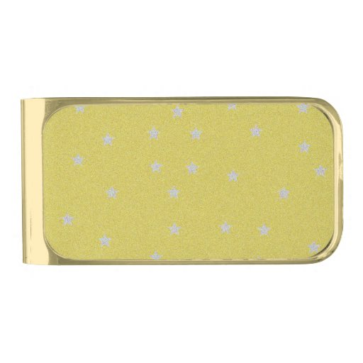 Gold With Silver Stars Money Clip