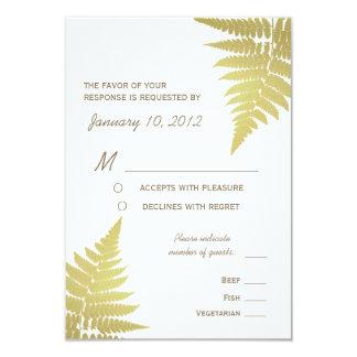 Gold Woodland Wedding Fern with Meal Options 9 Cm X 13 Cm Invitation Card
