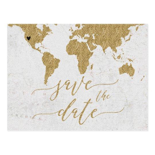 Gold World Map Destination Wedding Save the Dat
