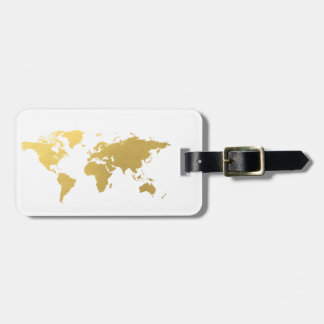 Gold World map elegant Luggage Tag