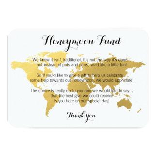 Gold world map honeymoon fund request wedding card