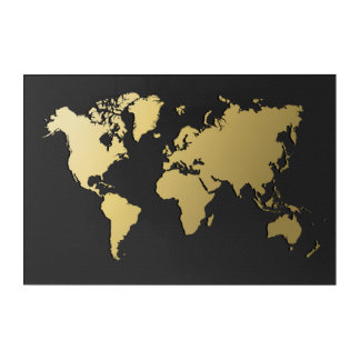 Gold World Map on Black Chevron Acrylic Print