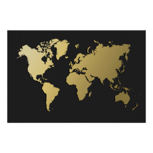 Gold world map art posters framed artwork zazzle gold world map on black chevron poster gumiabroncs Gallery