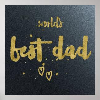 Gold World's Best Dad | Gradient Background Poster