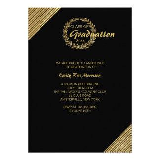 Gold Wreath Graduation Invitation