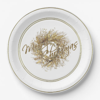 Gold Wreath Merry Christmas Paper Plate