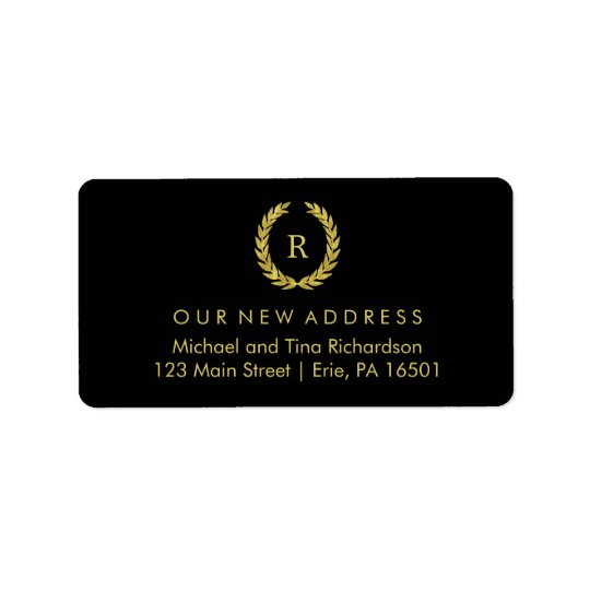 Gold Wreath on Black with Monogram New Address Label