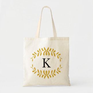 Gold Wreath Personalized Monogram Canvas Bag