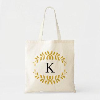 Gold Wreath Personalized Monogram Canvas Bag