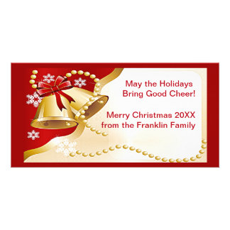 Gold XMas Bells, Beads and Snowflakes Photo Card