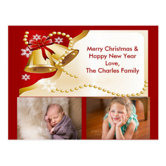 Gold XMas Bells, Beads and Snowflakes Postcard