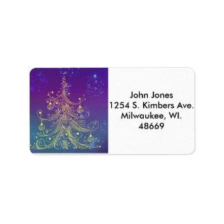Gold Xmas Tree Address Labels