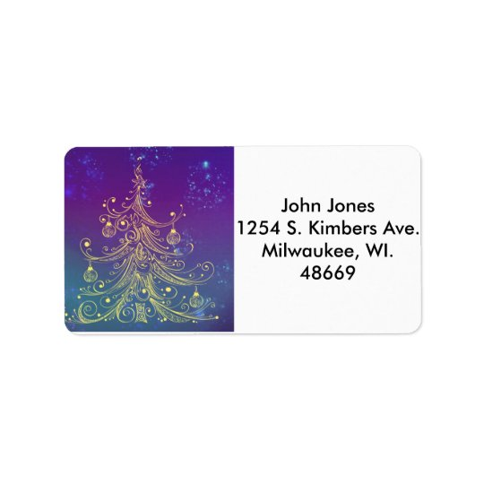 Gold Xmas Tree Address Labels
