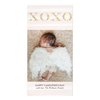 Gold XOXO Valentine's Day Photo Cards