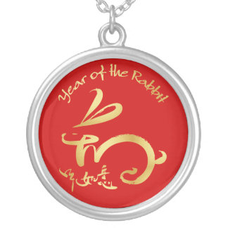 Gold Year of the Rabbit - Chinese New Year Silver Plated Necklace