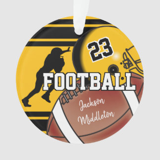Gold Yellow and Black Personalize Football Ornament