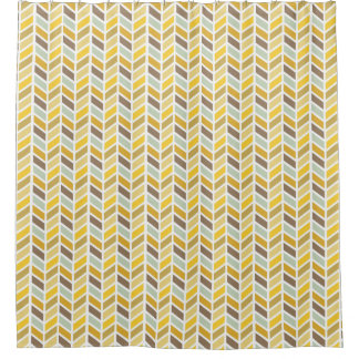 Gold, Yellow, Brown Herringbone Pattern Design Shower Curtain