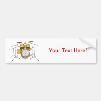 Gold Yellow Drum Kit Bumper Stickers