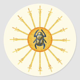 Gold Yellow Egyptian Scarab Sun Ankh Stickers
