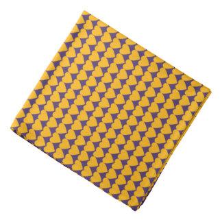 Gold Yellow Hearts on Purple Kerchief