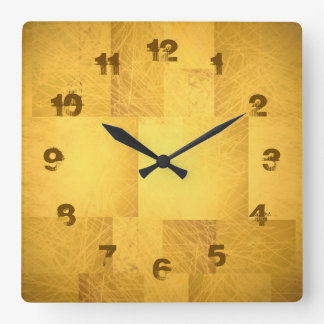 Gold Yellow Orange Scribbly Scratch Fading Numbers Wallclocks