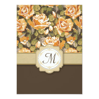Gold Yellow Roses on Brown with Monogram Custom Invitation