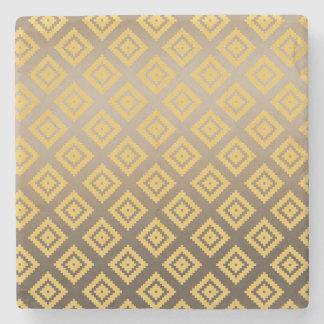 Gold Yellow Tribal Aztec Stone Coaster