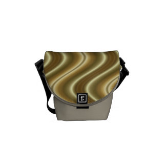 gold yellow wave abstract messenger bag