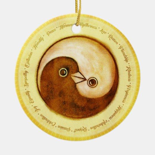 Gold Yin Yang peace doves ceramic decoration