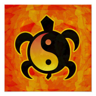 Gold Yin Yang Turtle Poster
