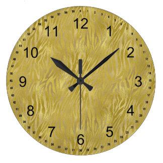 Gold Zebra Print Large Clock