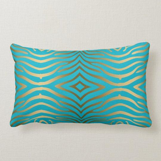 Gold Zebra Print On Turquoise Blue Lumbar Cushion