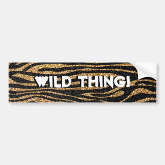 Gold zebra stripe pattern faux glitter bling bumper stickers