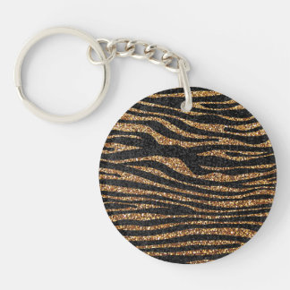 Gold zebra stripe pattern (faux glitter bling) key ring
