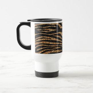 Gold zebra stripe pattern faux glitter bling coffee mugs