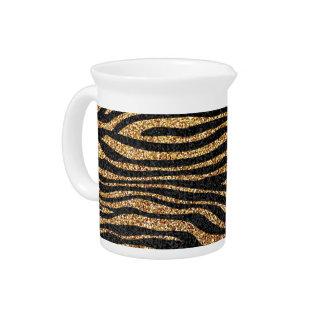 Gold zebra stripe pattern (faux glitter bling) pitcher