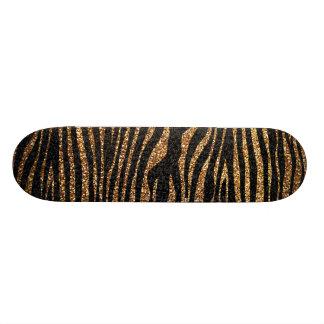 Gold zebra stripe pattern faux glitter bling skate deck